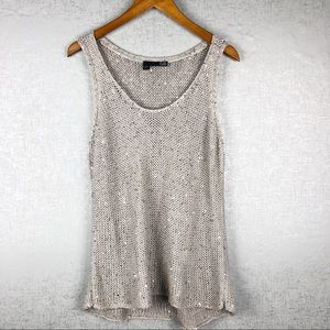 Eileen Fisher Sequined Knit Sweater Tank Size L